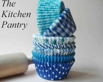 Blue Cupcake Liners - Baking Cups -  Assorted Blue Cupcake Liner  Mix  (70 standard  )