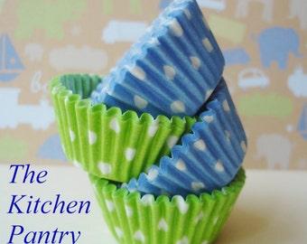 Blue and Lime  Combo Mini Cupcake Liners Mini Baking Cups  (120 mini)