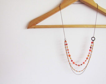 Boho chic orange long multiple chain necklace.  Neon orange. Summer trend Bohemian style