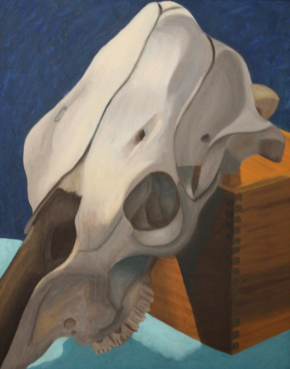 Cow Skull--original 16x20 oil on stretched canvas framed