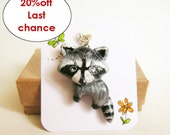 Teen girl gift, Raccoon necklace, Animal totem polymer clay