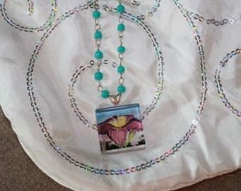 Flower Photograph Glass Tile Necklace