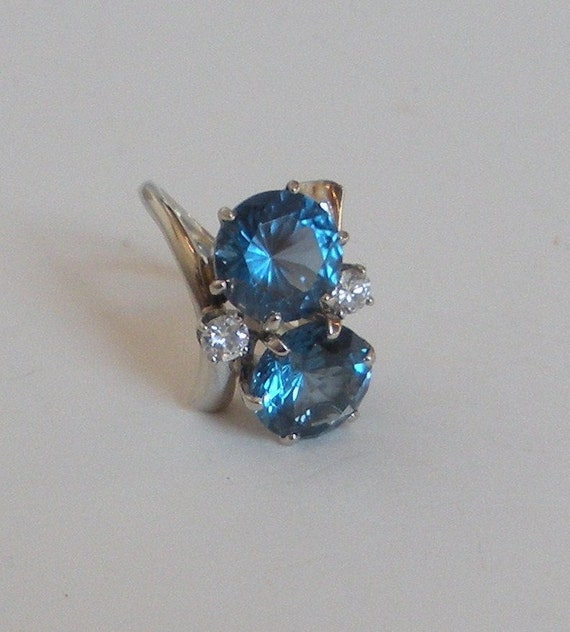 Vintage Natural Blue Spinel & Diamond Ring Size 6.5