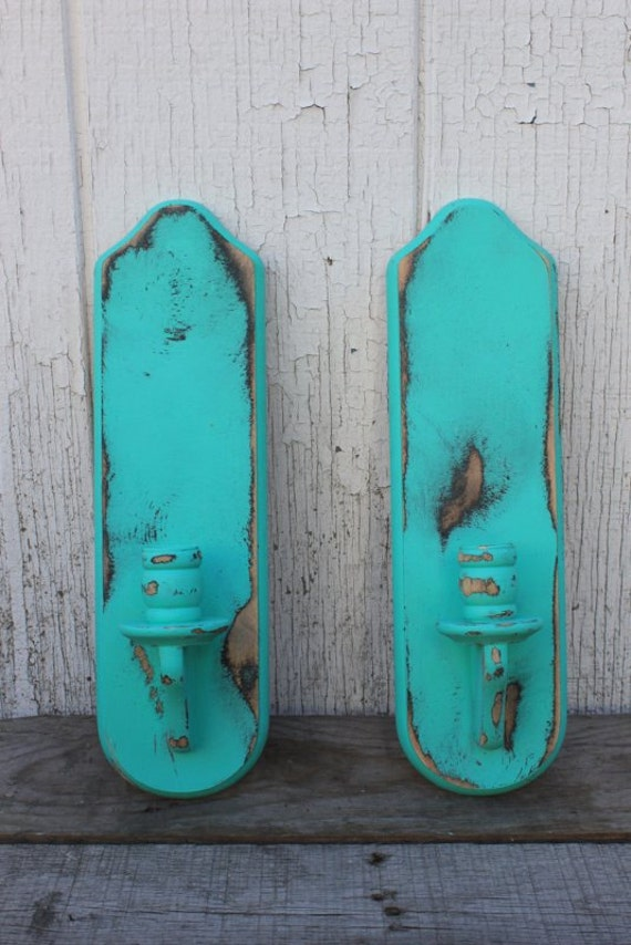 Vintage Wooden Wall Sconces - Refinished Turquoise Teal Sconces - Aqua Candle Holders