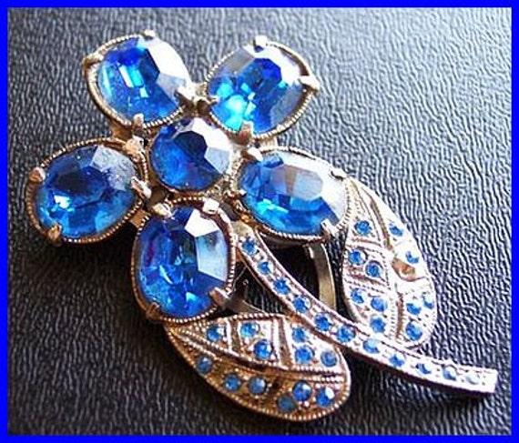"Vintage Blue Rhinestone Fur Clip Brooch Little Nemo Silver Pot Metal 2.5"" CIJ Sale"