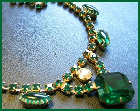 Vintage Bib Choker Necklace Green & AB Rhinestones Gold Metal Open Back Prong Set BIG 16""
