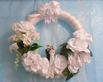 Wedding Wreath,  Reception Hall Decor, White Wreath, Door Wreath