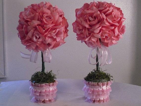 Pink rose topiaries set of wedding by