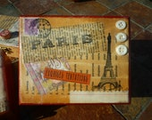 Small french style upcycled wooden collaged box