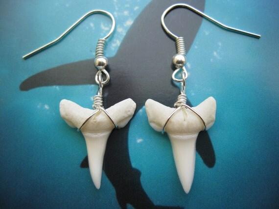 Shark Tooth Earrings, Modern Day Oceanic White Tip Shark, Silver Plated
