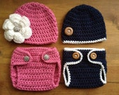Crochet BEANIE and DIAPER COVER set - photo prop - newborn, baby, toddler