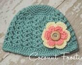Crochet SHELL STITCH 30's DECO inspired beanie hat w/ 2-layer flower - baby, toddler & child