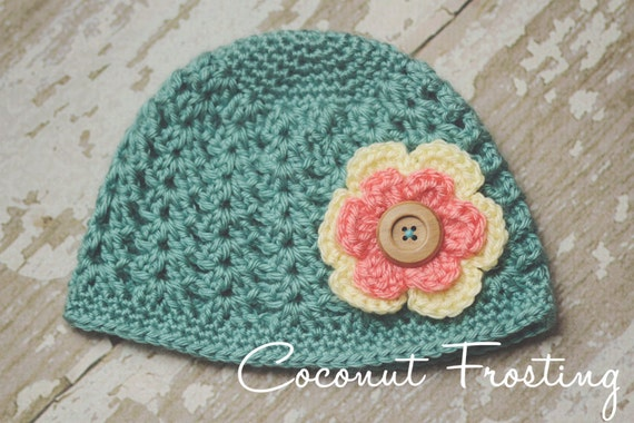 Crochet SHELL STITCH 30's DECO inspired beanie hat w/ 2-layer flower - baby, toddler & child