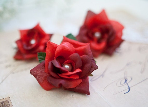 Small Red Roses Hair Clips (3 pcs), Small Hair Flowers, Hair Accessories, Red Hair Flower, Boho, Woodland, Girls, Women