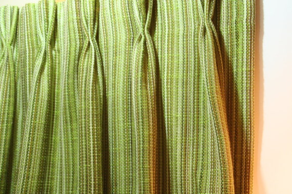 Vintage Pair of Woven Curtain Panels Shades of Green Lime Avocado Brown 1970s Weave Retro Cafe length