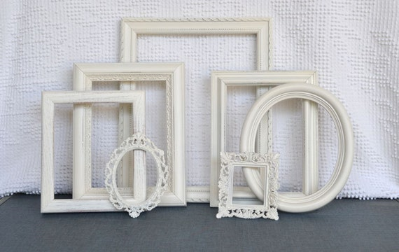 Shabby Chic Ornate Heirloom White Vintage Painted Frame Set of 7 - ... Upcycled painted frames