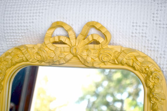 Large Vintage Yellow Ornate Mirror  - Upcycled Resin Homco Yellow Ornate Floral Wall Mirror Yellow Grey Nursery Girl Bedroom Modern Decor