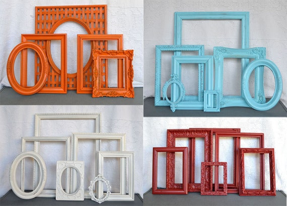 CUSTOM Ornate Chunky Picture Frames set of 5 with GLASS- Frames already chosen & pictured... You CHOOSE color Upcycled Frames Modern Decor