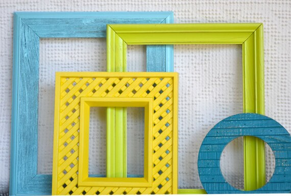 Lime Green Aqua Teal Yellow Frames set of 4 Upcycled Painted Coastal Cottage Bright Frame set bedroom decor