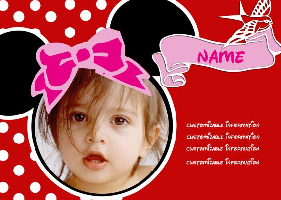 Invitaciones personalizadas de Minnie Mouse por realengo en Etsy