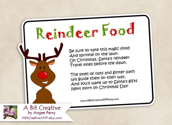 Reindeer Food Labels Pictures