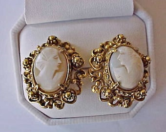 Beautiful Vintage Clip on Style Earrings with Genuine Carved Shell Cameos