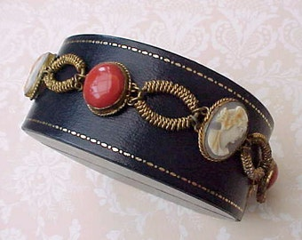 Beautiful Early Victorian Bracelet of Carved Shell Cameos and Polished Mediterranian Coral