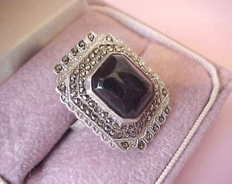 Beautiful Large Deco Styled Ring-Sterling Silver with Onyx Surrounded by Marcasites
