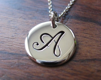 Letter A Initial Silver Pendant Necklace