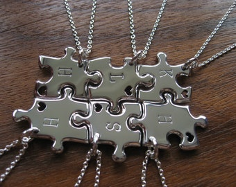 Six Miniature Puzzle Pendants with an Initial and heart