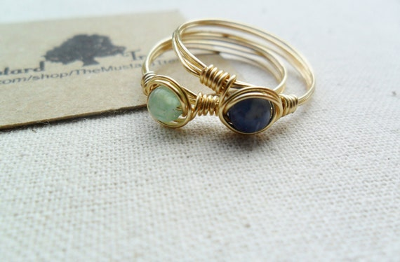 Small thin gold band green aventurine and blue sodalite gemstone stacking ring