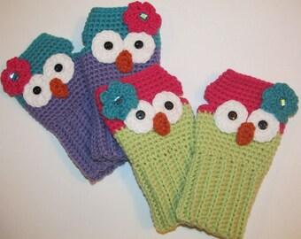 Owl Fingerless Gloves