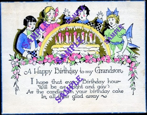 Digital Download-Grandson Birthday card with Party, Cake and Candles