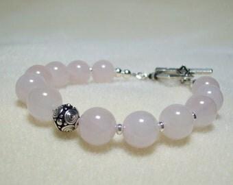 Rose Quartz Bracelet. Pink and Silver Bracelet. Feminine. Romantic. Girly.