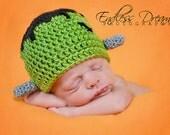 Instant Download - PDF - Frankenstein Hat Crochet Pattern - newborn to 4 years - photography prop - Halloween
