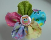 Pastel Patterned Shabby Fabric Flower with Cute Owl Center