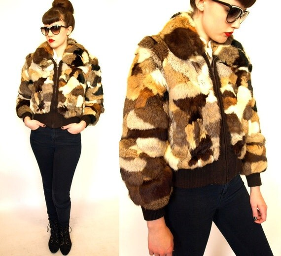 Vintage 70s Patchwork Rabbit Fur Bomber Jacket By