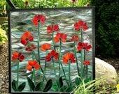 Poppies, Mosaic Poppies, Poppy Art, Poppies Decor, Home Decor, Poppy Decor, Poppies Wall Hanging, Flower Mosaic