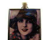 Resin Pendant, Woman in the Snow, Holidays, Christmas, Festive, Black, Red, Glitter, 35mm, Square, Necklace, For Her, Vintage Inspired