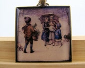 Resin Pendant, Snow Day, Christmas, Red, Blue, Snow, Brown, 1 1/2 Inch, Square