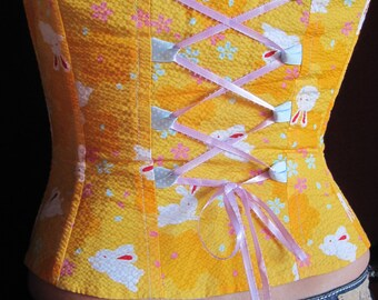 Happy Orange Bunny Casual Corset - With Completely Separating Zipper - Small - SUPER FINAL SALE!!!