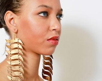 Statement Earrings - Leather Earrings - Metallic Leather Earrings - Long Earrings - Linear Earrings - Wave Drop Earrings