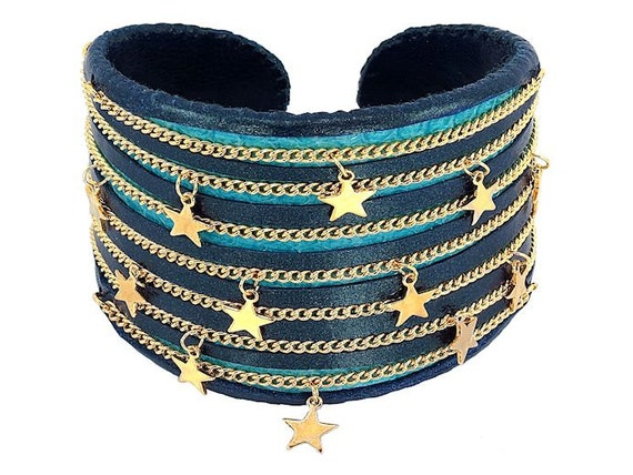 Blue Leather Nautical Star Cuff Bracelet - Blue and Turquoise Snakeskin Shredded Handmade Statement Cuff Bracelet with Gold Chains