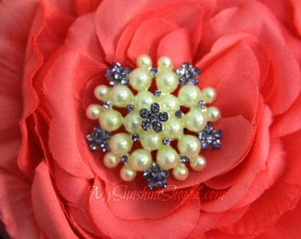 Vintage Style Metal Buttons - Pearl Cluster Button - Lavender stones - 26mm - set of 5