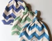 Baby Hat Set, Baby Boy Gift, Chevron Hat Set, Organic Knotted Baby Caps