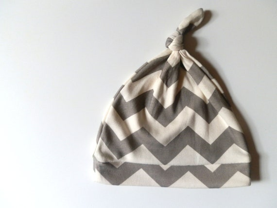 Baby Hat, Gray Chevron Hat for Infants, Super Soft Cotton 3-6m, Neutral Baby Gift