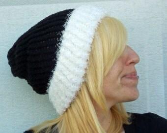 loom knit black and white beanie, hat , cap