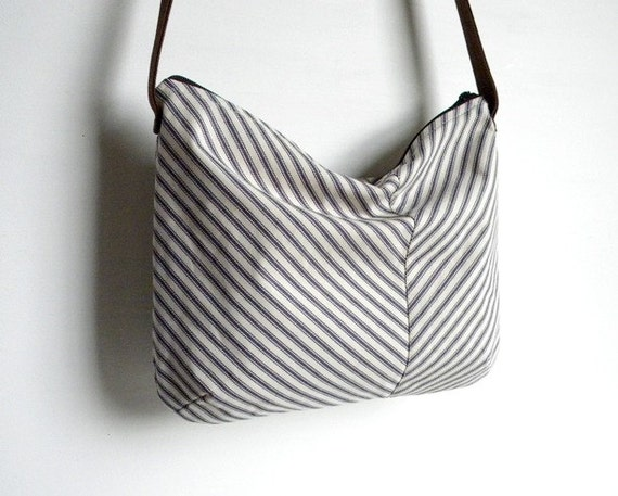 SALE Ticking Stripe Chevron Slouch Cross Body Bag