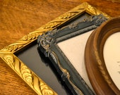 Shades of Fall Shabby Chic Vintage Picture Frame Set Plastic Resin Hollywood Regency Black Brown and Gold