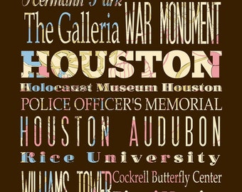 Houston, Texas, Typography Poster/Bus/ Subway Roll Art 16X20-Floral Series-Houston's Attractions Wall Art Decoration-LHA-185-C05